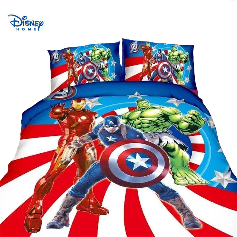 disney Avengers bedding set 2/3/4pc Princess Elsa McQueen Cars Spiderman printed duvet cover single twin size girl boy bed linen