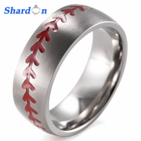 SHARDON Domed 8MM Matte Finishing Pure Titanium Baseball Ring with Red Stitching Fan Sports Band Men's Outdoor Sports Ring