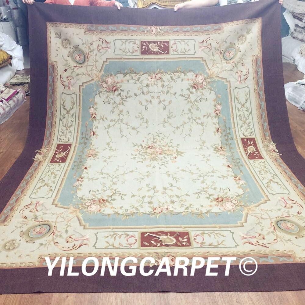 Yilong 8'x10' fait à la main personnalisé nouvelle-zélande laine Aubusson tapis (Au16-8x10)