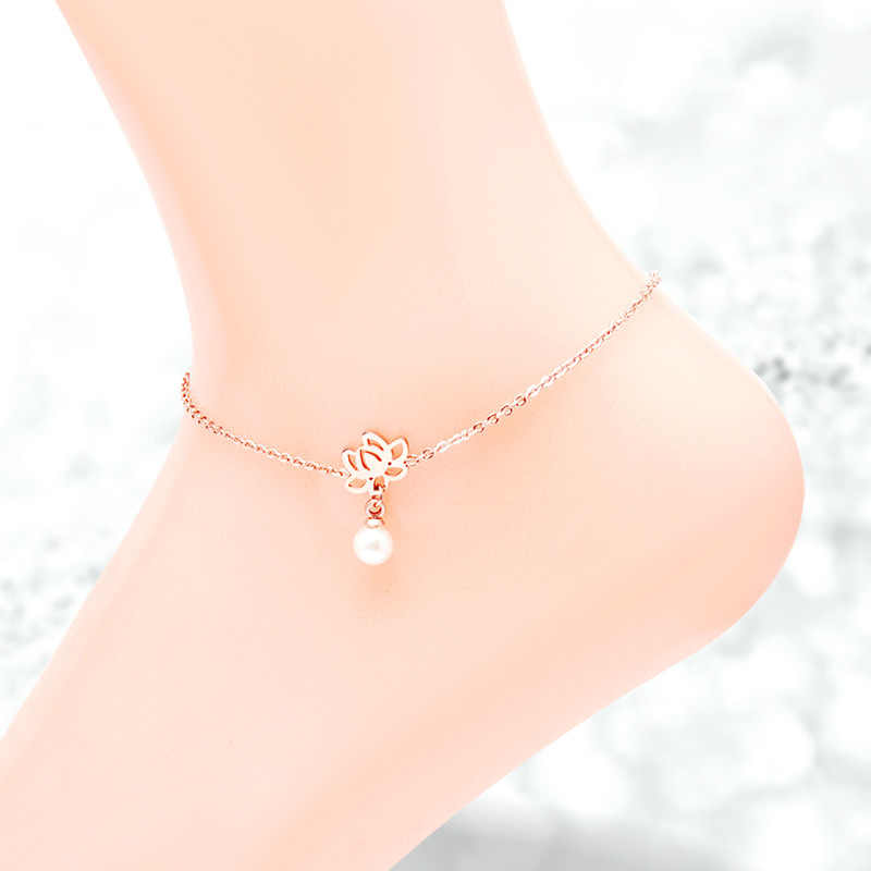 Martick Delicate Lotus Flower Shape Anklets Link Chain With Pearl Pendant Anklets For Women Europe Brand Jewelry Ank10