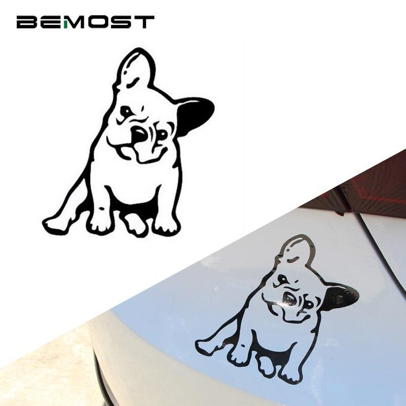 BEMOST 11.5*12.7cm Car Styling Fashion Cartoon Pet Dog Car Sticker Lovely French Bulldog Cars Decorative Decal Accessories 5pcs