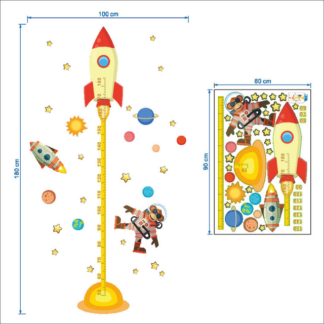 Monkey Space Exploration Growth Chart Wall Sticker