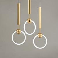 LukLoy Postmodern Pendant light Nordic Modern Circle Creative Restaurant Bar Cafe Aisle Bed Beside Single Head Ring LED Lamp