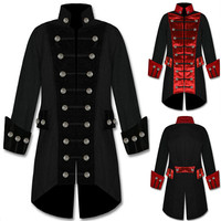 Renaissance Men's Coat Medieval Clothing Solid Color Fashion Steam Punk Vintage Men's Uniform Viking Costume