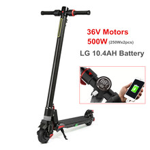 500W LG 10.4AH Dual Motor Foldable Electric Scooter Carbon Fiber Skate Board Folding Bike Kick Scooter powerful electric bicycle(China)