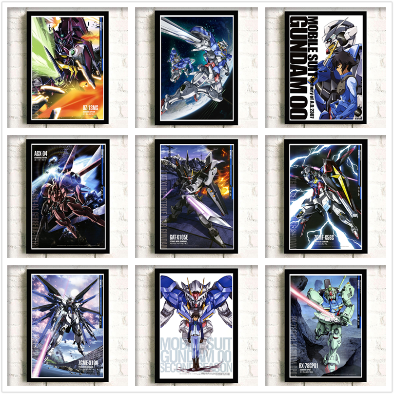 Mobile Suit Gundam Anime around White cardboard Art poster Wall decoration Wall Sticker birthday gift 42*30cm No frame