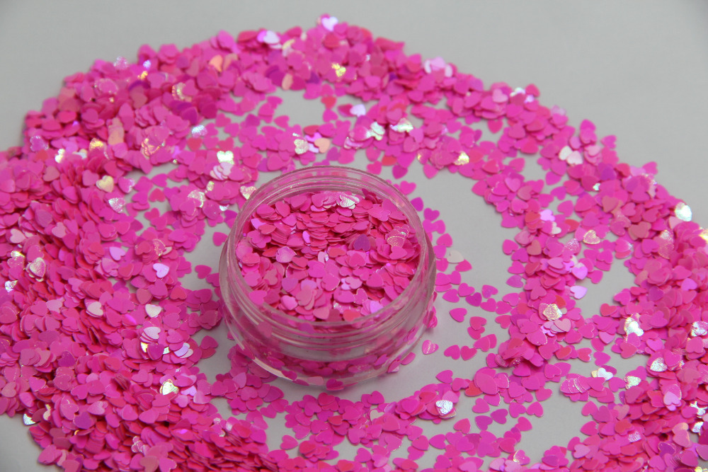 HI-11 Heart  shapes Pearlescent Iridescent Rose Carmine Colors confetti spangles glitter for nail Art  DIY decoration 1pack=50g tcf510 solvent resistant neon rose carmine color mickey mouse shape spangles for nail polish and other diy decoration1pack 50g