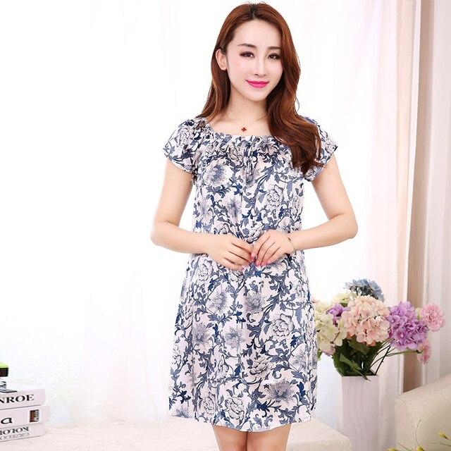 558beb051a1b2 Sleepwear Nightgown Women Pregnant Silk Pijamas Summer Mother ...