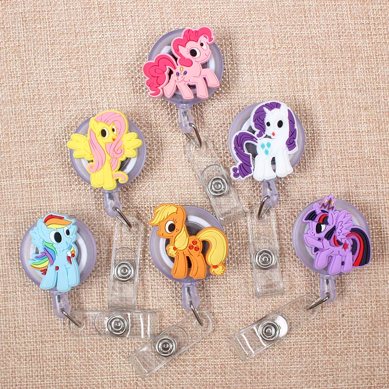 Cartoon Cute Color Horse Retractable Badge Holder Reel Exhibition Enfermera Students Girls Name Card  Hospital Office Chest Card