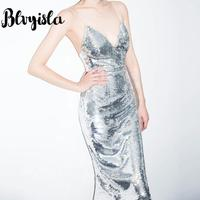 Blvyisla Sexy Sling Dress back trimming V collar silver sequined Dresses Party Club Wear