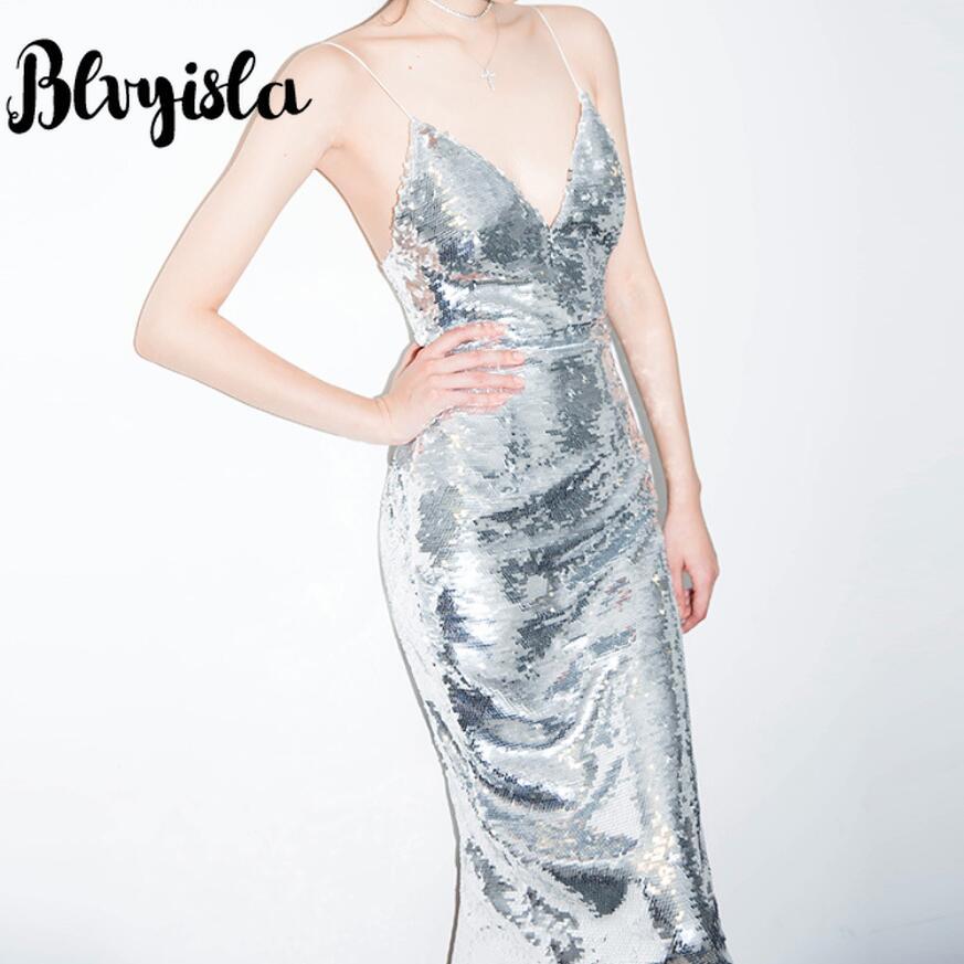 Blvyisla Sexy robe à bretelles dos-coupe col en V argent robes à paillettes tenue de club de fête