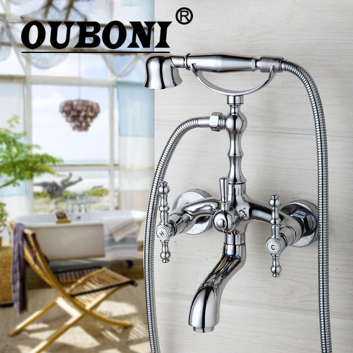 OUBONI Modern Rainfall & Stream Spout Wall Mounted Tap Chrome Finish Rain Shower Head Faucet Shower Set Hot & Cold Mixer