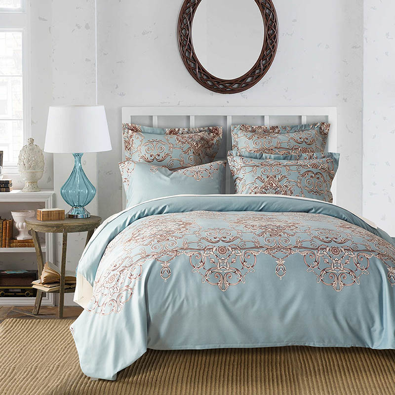 European Floral Printing Bedding Set Elegant Pattern Pillowcase And Duvet Cover Sets Comfortable Both Sides Skin-friendly ...
