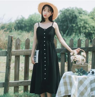 2018 Women's Sundresses Japan Retro Casual Harajuku Ulzzang Button Sliding Dress Female Cute Korean Kawaii Dresses For Women by Kokopiecoco