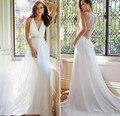 Женщины Белый Вышитый Бисером Повседневная Свадебное Платье Sheer Вернуться Глубокий V-образным Вырезом свадебные Платья