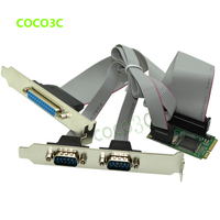 Mini PCIe 2 Serial ports + 1 Parallel port I/O Controller card mini PCI e to RS232 ports DB9 + DB25 COM card adapter