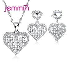Jemmin Hollow Heart Cubic Crystal Fine Jewelry Set