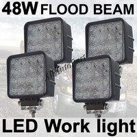 20 Spot 20 Flood 48W 4 Square LED Work Light Cool White 6000k 2760Lumens For ATV