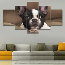 French Bulldog HD Print Animal Paintings Wall Art Home Decor Modern Canvas Painting Room 5 Piece Artwork