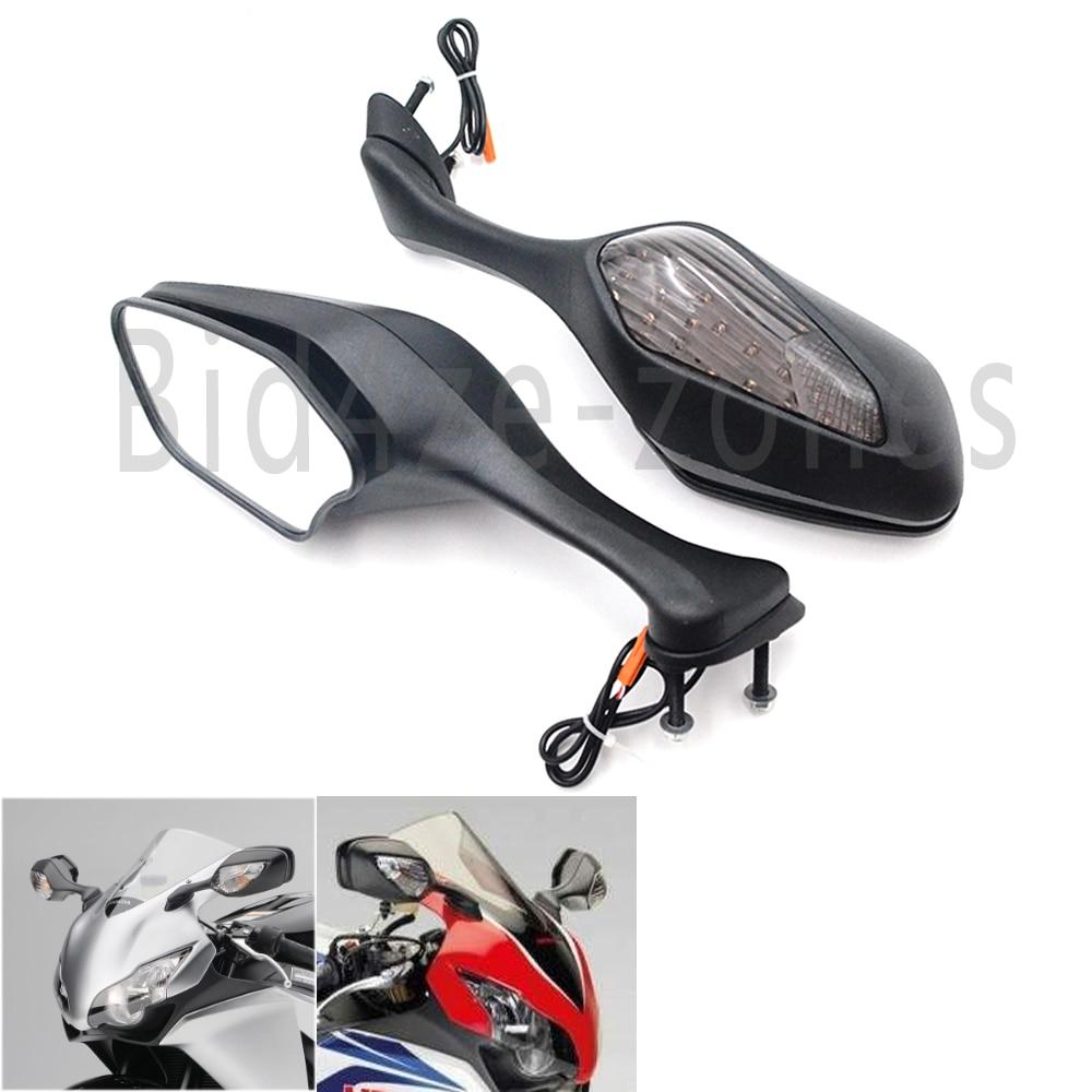 Motorcycle Black Rear View Mirrors W LED Turn Signal For Honda CBR1000RR CBR 1000 RR 2008