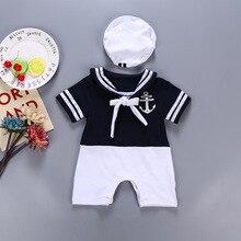 Rompers Sailor-Suit Short-Sleeve Climbing-Jumpsuit-Sets Baby-Boy Summer Children