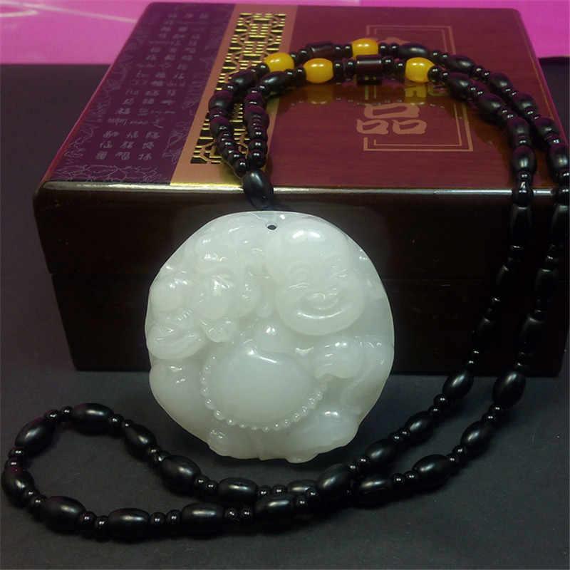 Pendentif en pierre blanche naturelle d'afghanistan 3D sculpté Maitreya bouddha femmes hommes amulette Jades bijoux pendentifs avec collier de perles