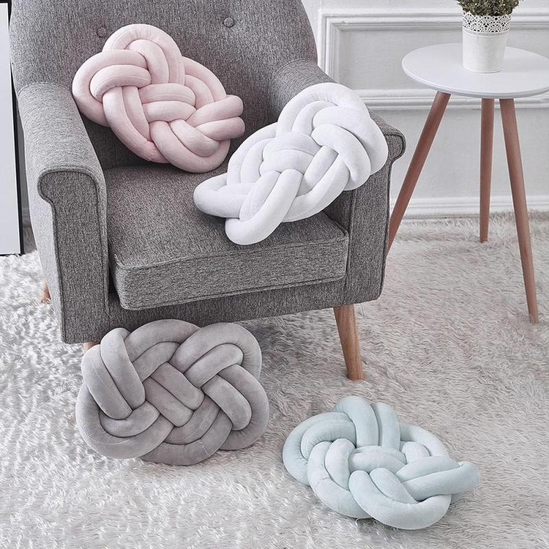 INS Handmade Knot Cushion Knotted Ball Pillow Europe Style Kids Bed Pillows Stuffed Toys Children Nursery Room Decor Gifts R4
