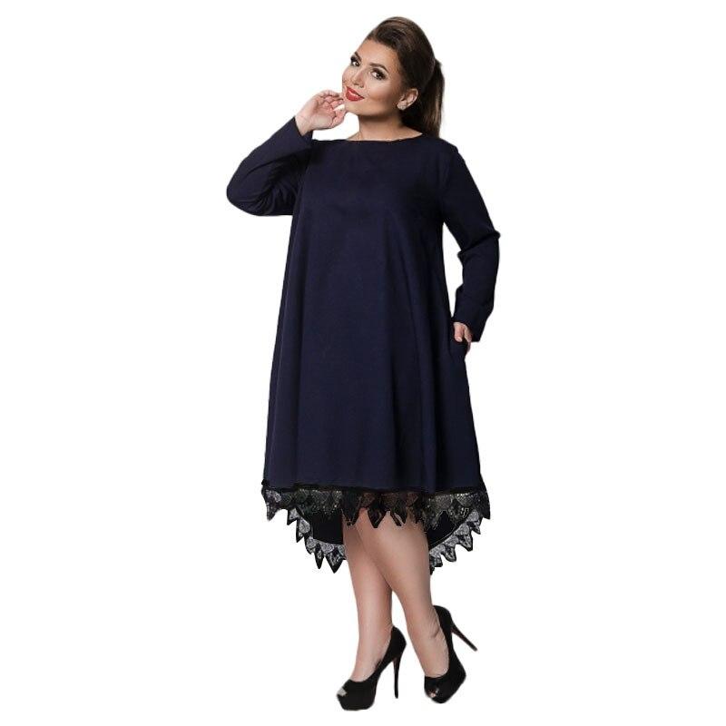 Big size 6XL 2018 Spring Woman Dress Loose solid patchwork knee dresses Fat  MM plus size women clothing 6xl dress-in Dresses from Women s Clothing on  ... 7b6ea69d0eea