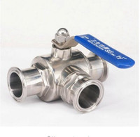 1 1/2 38mm 304 Stainless Steel Sanitary 3 Way L port Ball Valve 1.5 Tri Clamp Ferrule Type For Homebrew Diary Product