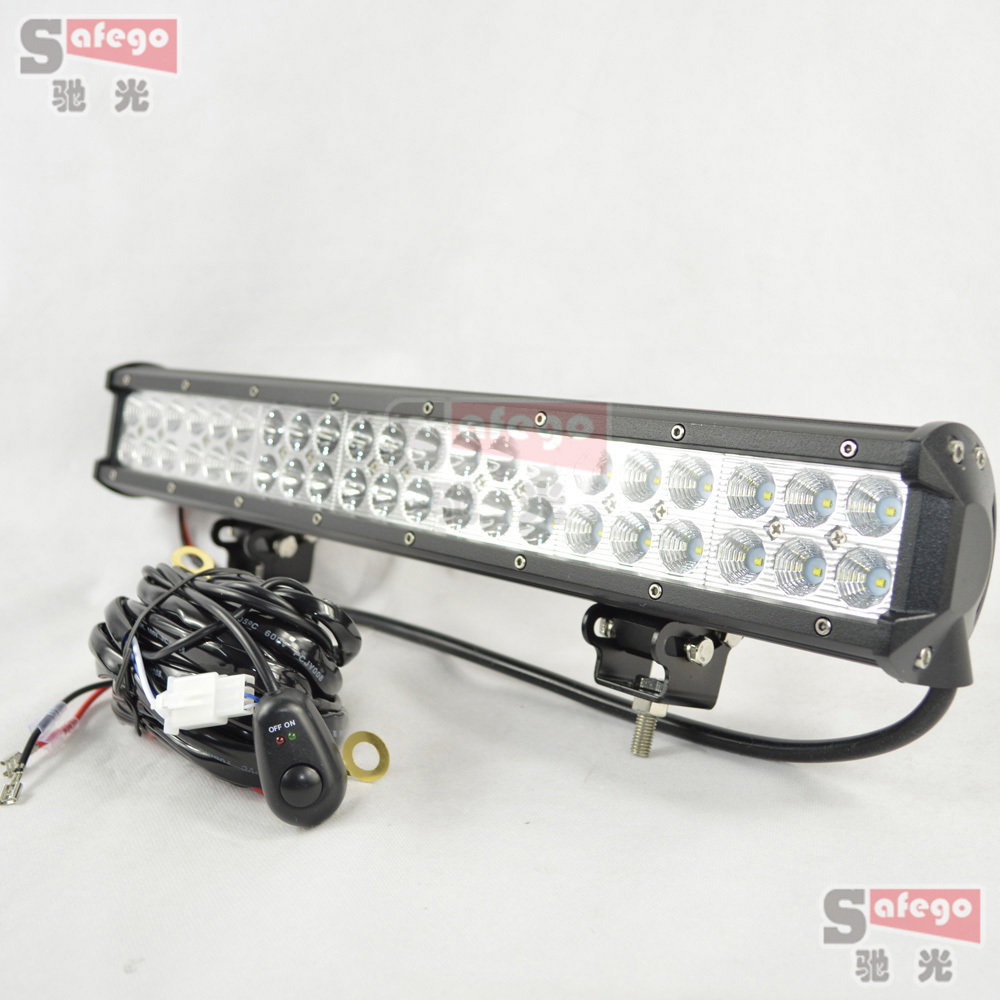 1pcs led offroad lights 126w led bar working led light wiring kit for truck trailer 4x4 4wd suv atv offroad car boat 12v 24v