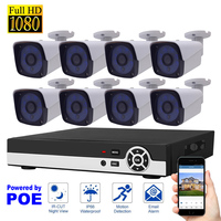 8CH NVR 1080P POE KIT Network Video Recorder H 264 P2P Cloud Phone Control Motion Detection