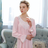 SpaRogerss Long Sleeved Jacquard Cotton Womens Lingerie Spring Ladies Night Dress Woman Sleepwear Nighty Lace Nightgown JH42