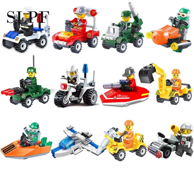 12 Kinds Original Mini Transportation Block Car Building Assembly Model Kids Toys Children Birthday Gifts Compatible Legoing N03