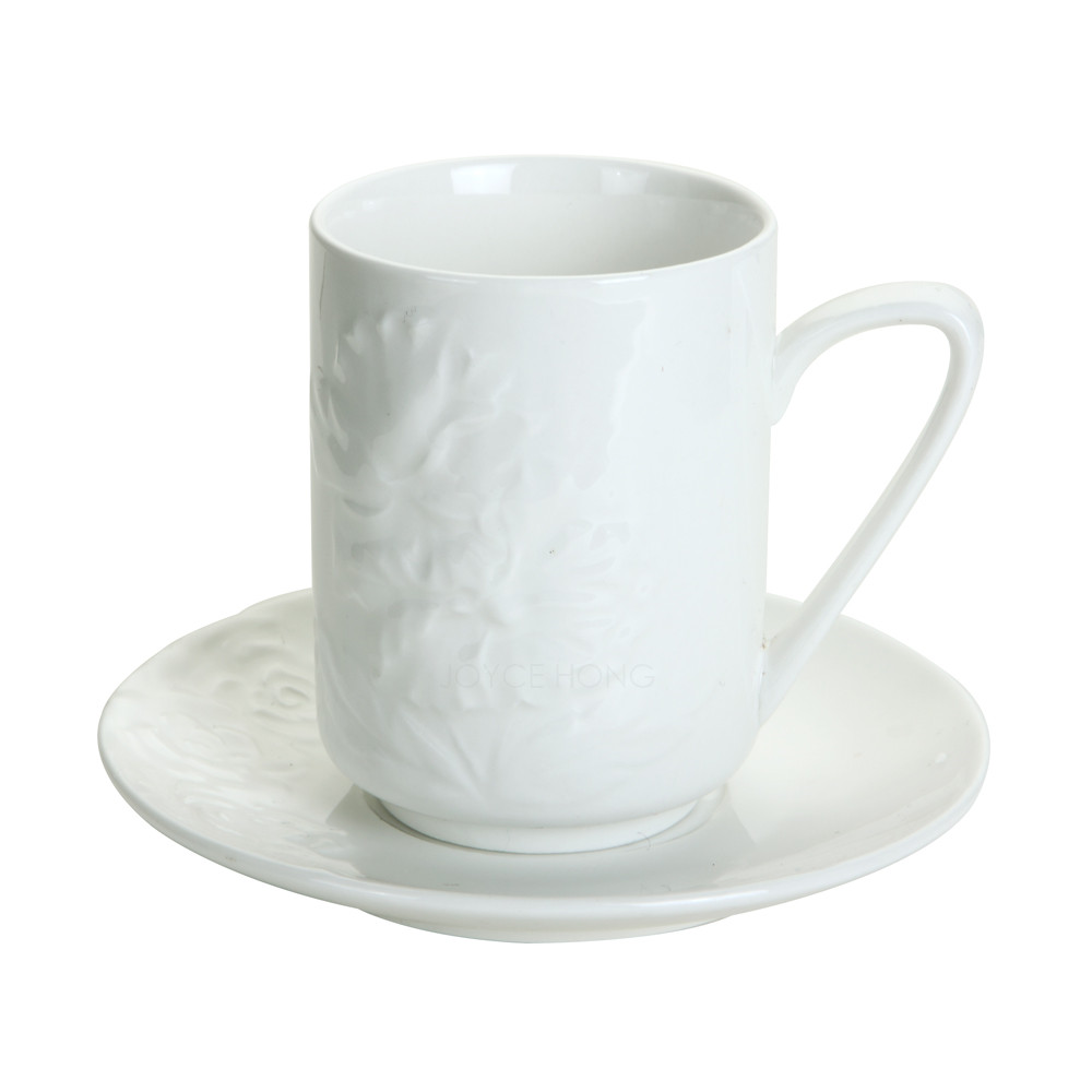 Embossing Teacups Coffee Cups Set Ceramic Espresso Coffee Cups Mugs and Saucer Set