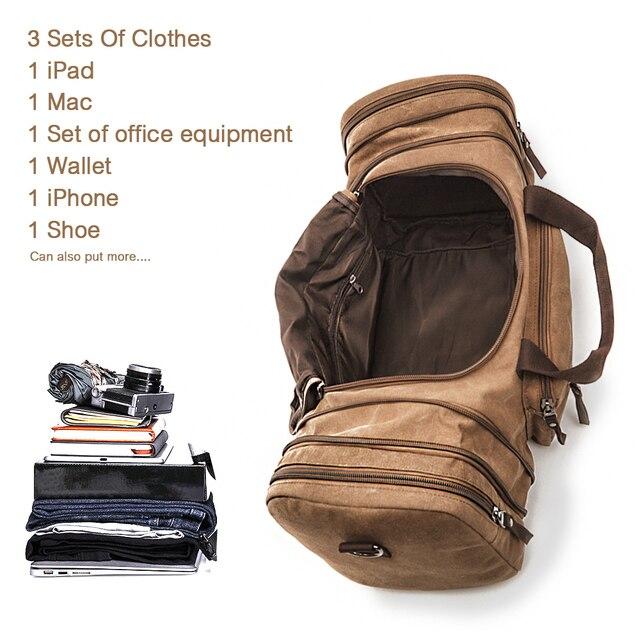 Markroyal lona sacos de viagem grande capacidade carry on sacos de bagagem dos homens mochila de viagem tote fim de semana saco dropshipping 3