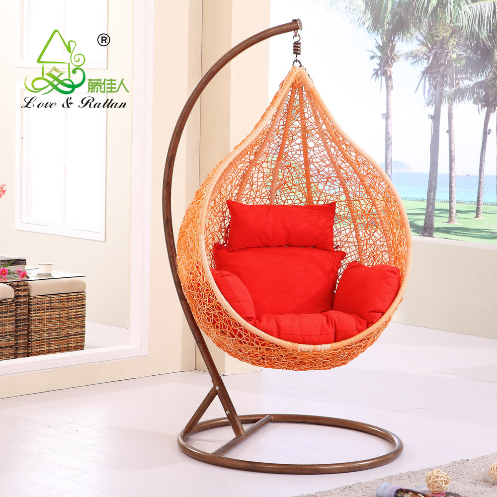 Lady Oversized Outdoor Rattan Swing Hanging Wicker Chair Rocking Cradle Rotation