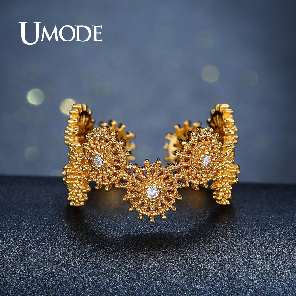 UMODE Geometric Cocktail Ring for Women Gold Color Jewelry Beautiful CZ Stones Finger Open Ring Aneis Feminino Hot Gift AUR0387A
