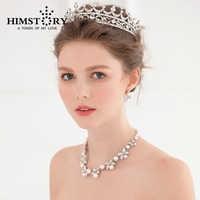 Perla del fiore Dei Capelli Dell'annata Crown Stabilito Dell'orecchino Della Collana, principessa Gioielli 3 pz Set for wedding Party