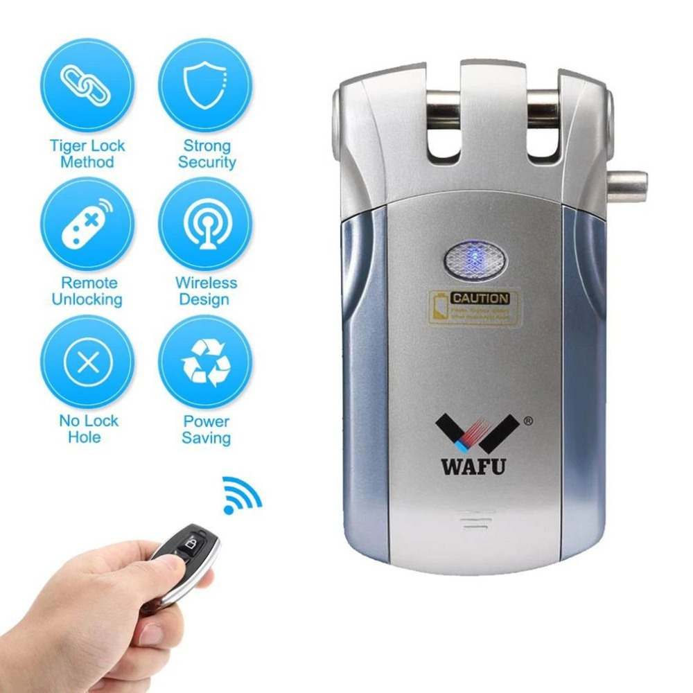 WAFU Sans Fil télécommande serrure électronique Invisible D'entrée Sans Clé serrure de porte avec 4 télécommande lers Électrique Serrure À Mortaise