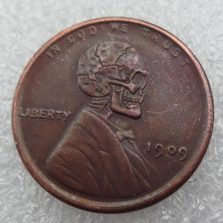 Type Us02 Hobo Nickel 1909 Wheat Penny Pressed Hobo Lincoln Skull Zombie Skeleton Hand Carved