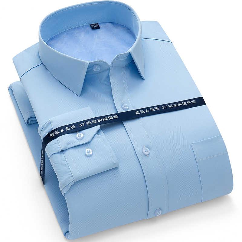 冬暖かい新入荷しましたメンズワークシャツブランド長袖社会ツイルメンズドレスシャツ男性シャツ 4xl 多く色