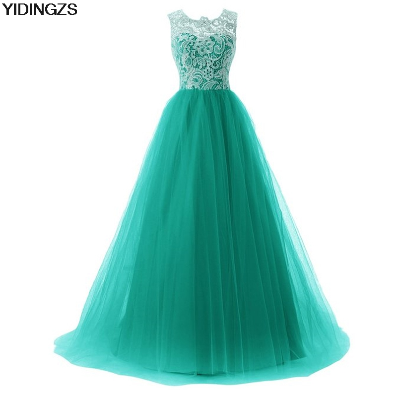 YIDINGZS Green Lace A line Formal Long Evening Dress Sleeveless Evening Party Dress 2017