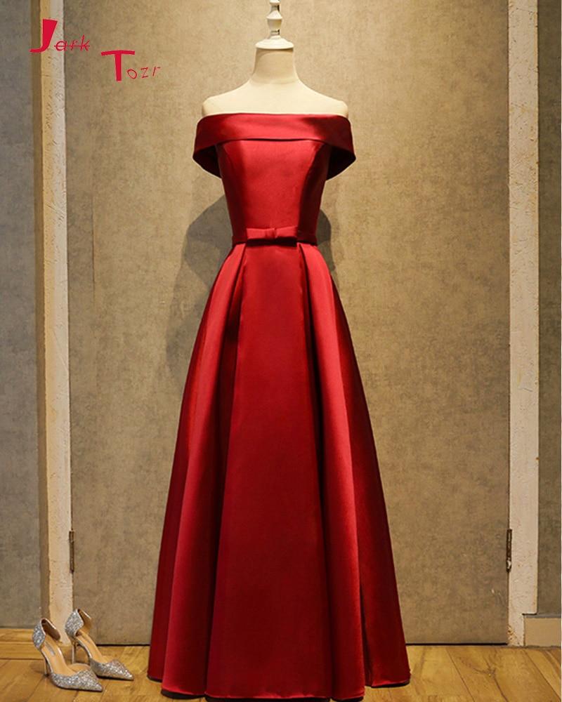 Jark Tozr 2019 New Arrive Off The Shoulder Short Sleeve Lace Up Red Satin Bow Formal   Prom     Dresses   Long Vestido De Festa