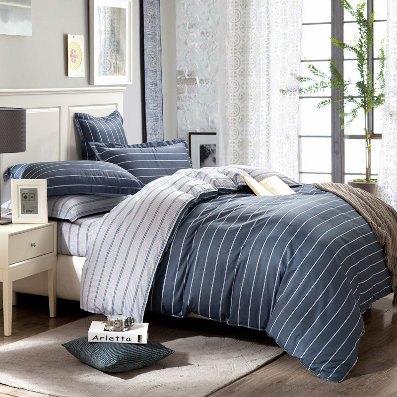 Simple 100% Pure Cotton Bedding Set King Size Striped Bedspread Grey Color Plaid Cotton Bed Sheets For Men