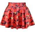 Новый 2016 летние юбки женские плиссированные юбки клубника ЮБКА Saia Sml XL плюс размер