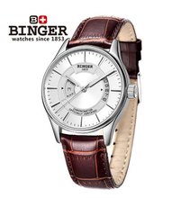 Brand Binger Luxury Leather Automatic Mechanical Watch Hollow Dial Leather Watch band Wristwatch Best Birthday Gift