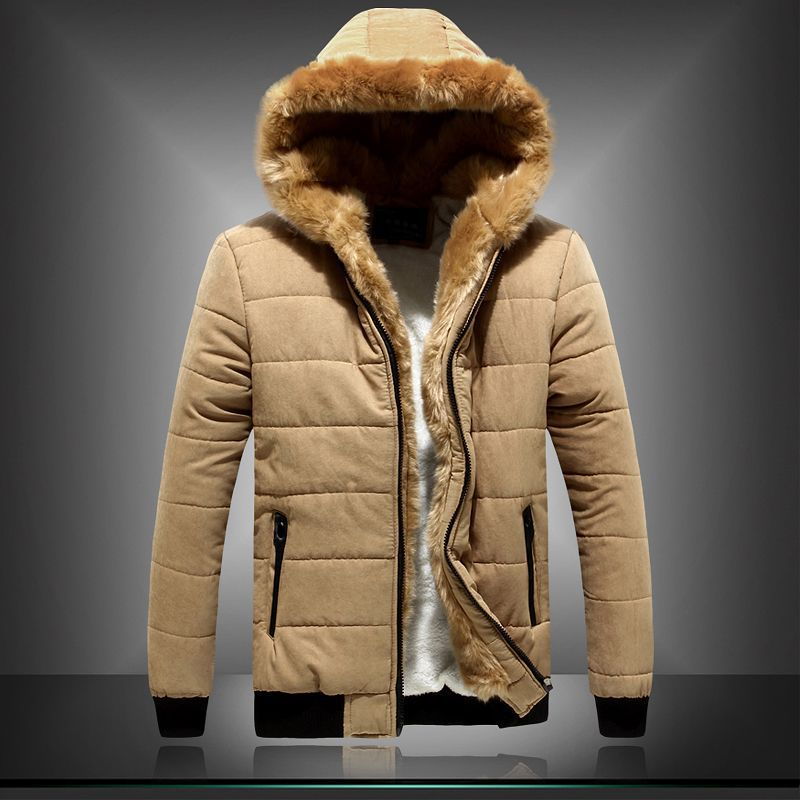 Mens fur lined hood jacket