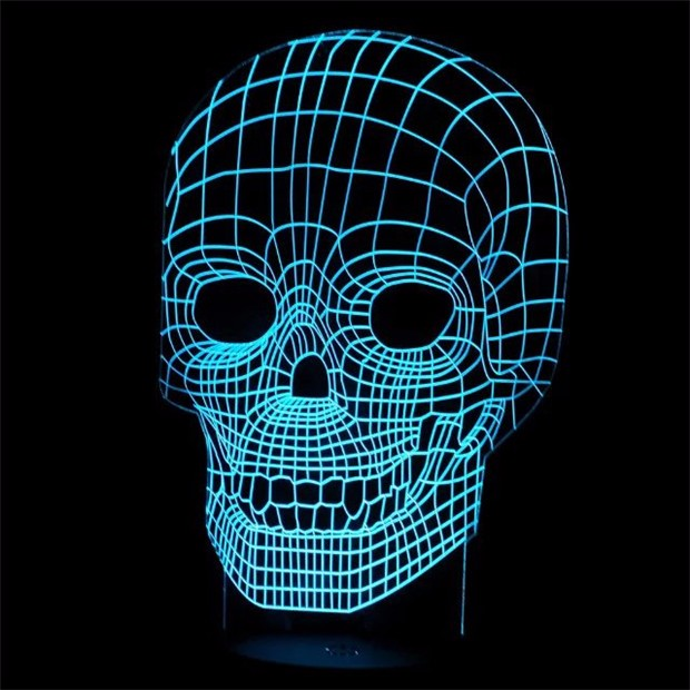 Unbelievable Led Illuminated Skull Illusion Night Light Sculpture Desk Lamp Innovative Christmas Gift Present Gx111