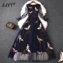 Женское длинное платье с вышивкой в виде птиц повседневное элегантное