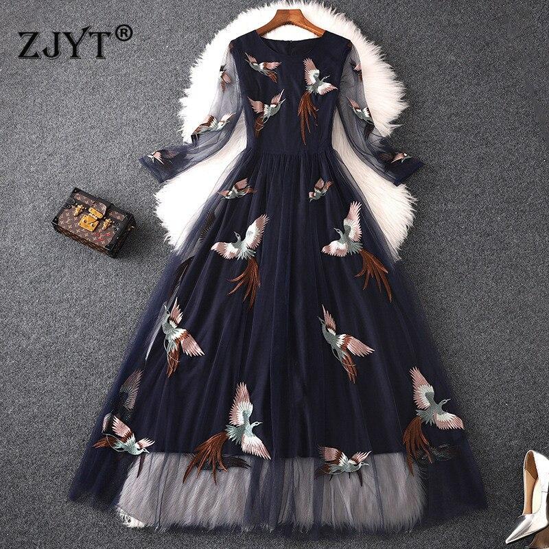 Haute qualité concepteur piste Maxi robe femmes 2019 été élégant oiseaux broderie Tulle Maxi robes de soirée Sexy décontracté Vestidos